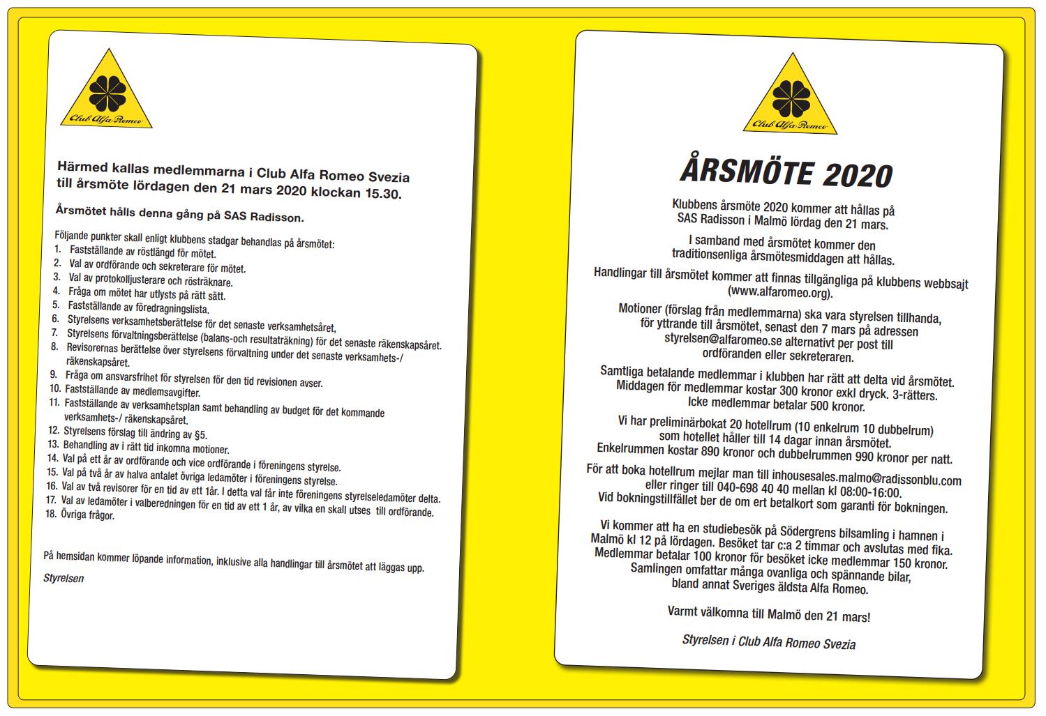 Årsmöte för CAR 2020