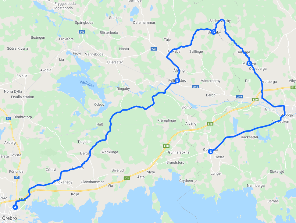 1a Majtur: Örebro - Fellingsbro - Medåker - Götlunda
